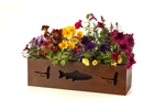 24 inch rusted metal ski planter