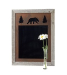 20X27 wood frame bear mirror with 3-image metal mat