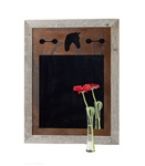 20X27 rustic wood frame horse mirror with 3-image metal mat
