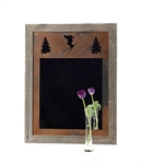 20X27 wood frame skier mirror with 3-image metal mat