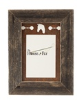 5X7 barnwood frames with 3-image rusted metal horse mat