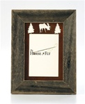 5X7 barnwood frames with 3-image rusted metal moose mat