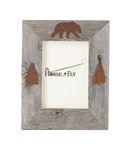 4X6 5X7 & 8X10 three-image rustic barnwood bear picture frames