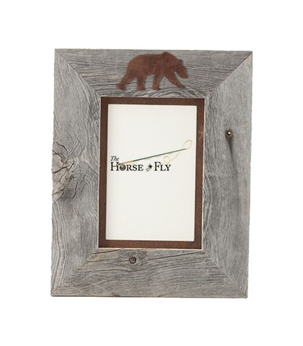 5X7 & 8x10 One-Image Barnwood Bear Frame with Rusted Metal Mat | The ...