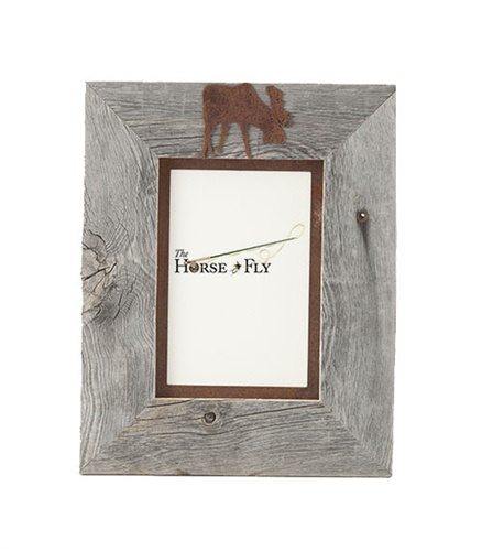 5X7 & 8x10 One-Image Barnwood Moose Frame with Rusted Metal Mat ...