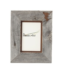5X7 & 8x10 One-Image Barnwood Ski Frame with Rusted Metal Mat