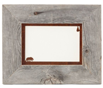 5X7 barnwood photo picture frames with rusted metal bear mat