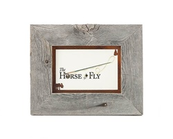 5X7 barnwood photo picture frames with rusted metal moose mat