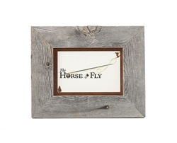 5X7 barnwood photo picture frames with rusted metal skier mat