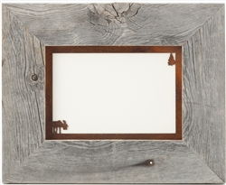 "5"" x 7"" barnwood frames with 2-image rusted metal mat"
