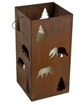 Large metal hanging bear candle lantern holder