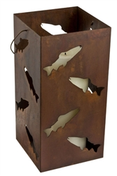 Large hanging metal fish candle holder lantern