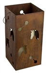 Large hanging metal square horse candle lantern