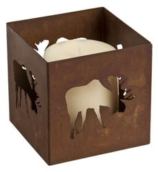 Square rusted metal moose pillar candle holder