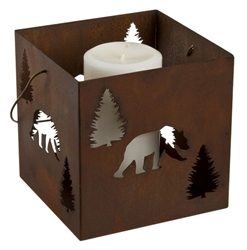 Small metal hanging bear candle lantern holder
