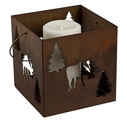 Small hanging moose metal candle lantern holder