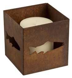 Decorative square rusted metal votive fish candle holder