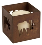 Decorative square rusted metal votive moose candle holder