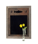 20X27 wood frame fish mirror with 3-image metal mat