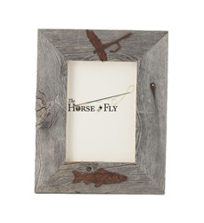 4X6 5X7 & 8X10 two-image rustic barnwood fly fish picture frames