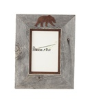 5x7 and 8x10 One-Image Barnwood Bear Frames with Rusted Metal Mat