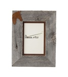 5X7 & 8x10 One-Image Barnwood Equestrian Frame with Rusted Metal Mat