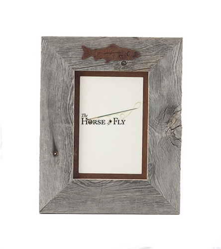 5X7 & 8x10 One-Image Barnwood Fly Fishing Frame with Rusted Metal ...
