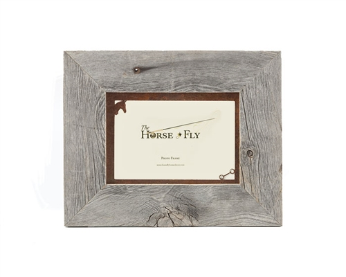 5X7 Barnwood Frames with Rusted Metal Horse Mat | The Horse Fly Home ...