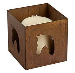 Decorative square rusted metal votive horse candle holder